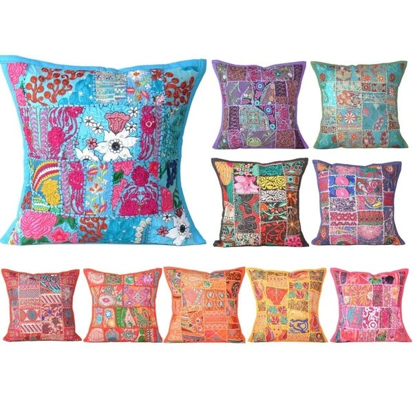Shop Oussum Handmade Embroidered Cotton Pillow Covers Patchwork .