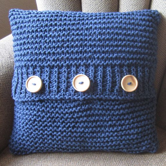 Denim Delight cotton hand knit cushion cover I want to make some .