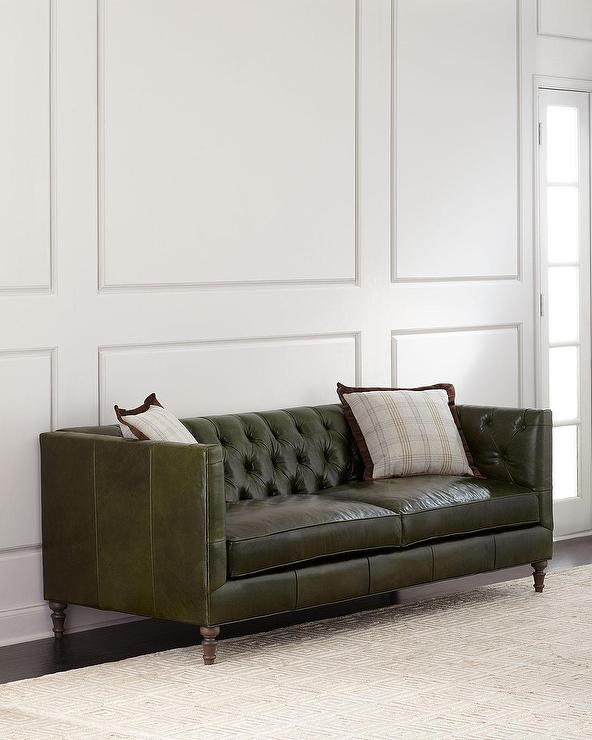 Mackenzie Green Leather Button Tufted So