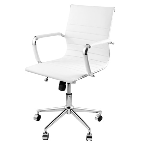 Eames Replica PU Leather Executive Designer Office Chair White-in .