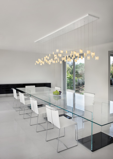 Contemporary dining room, Orchids chandelier by Galilee lighting .