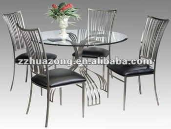 Ashley Round Glass Top Steel Dining Table And Dining Chairs - Buy .
