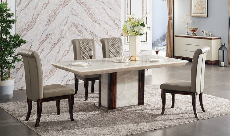 Modern dining table designs furniture marble stone 6 seater dining .