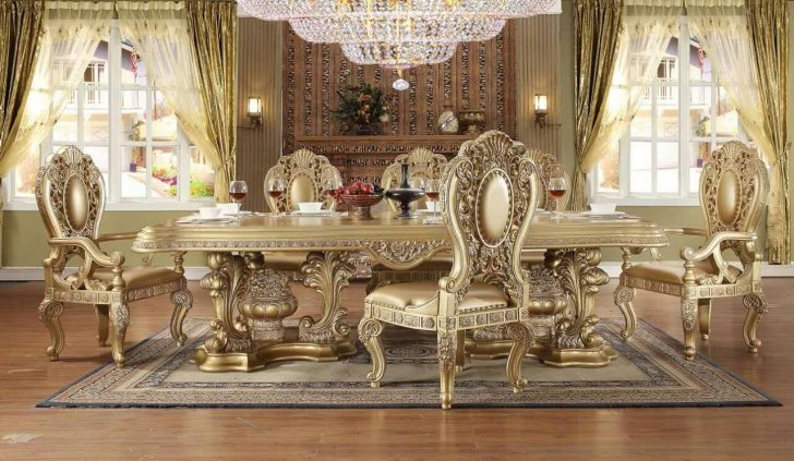 HD-8016 Traditional Dining Table Set in Gold Wood by Homey Desi