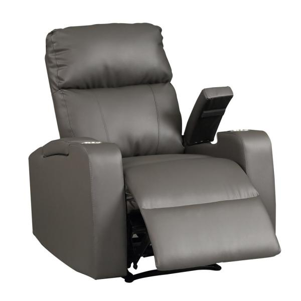 AC Pacific Terry Collection Modern Grey Upholstered Faux Leather .