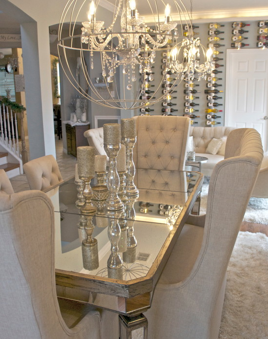 glam dining room! I am obsessed with the table, chairs .