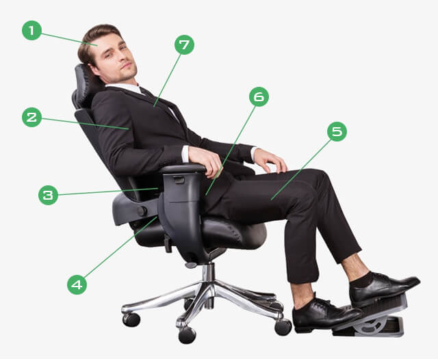High-Back Executive Swivel Office Computer Desk Chair With Armrest .