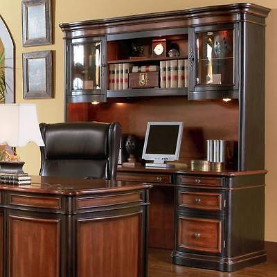 AWESOME EXECUTIVE OFFICE DESK CREDENZA & HUTCH OFFICE FURNITURE .