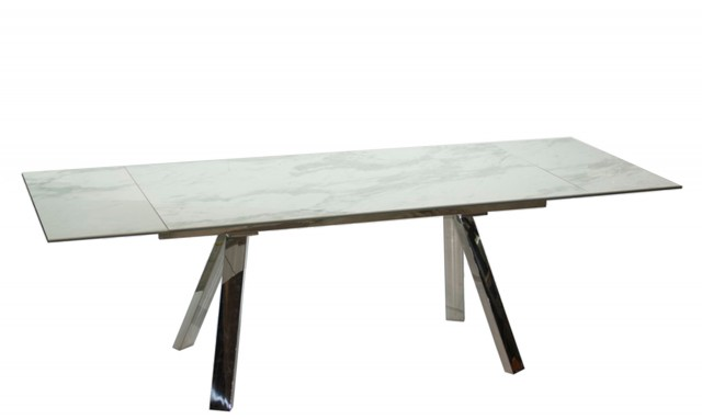 Cantania - 160cm Extending Dining Table With White Marble Ceramic .