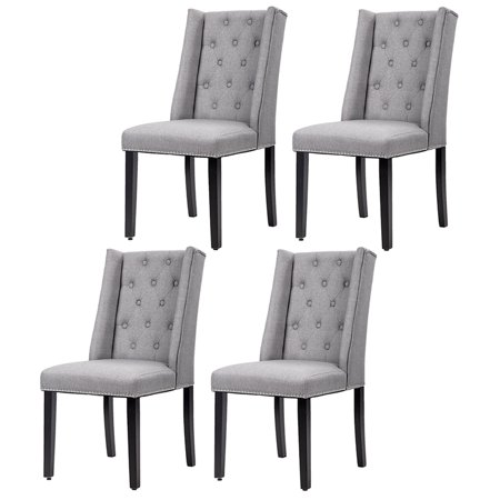 Set Of 4 Grey Elegant Dining Side Chairs Button Tufted Fabric with .