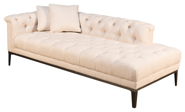 Fainting Couch, Off White, Linen - Transitional - Indoor Chaise .