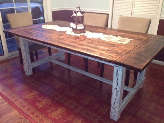 Hand Made Reclaimed Wood Trestle Style Farmhouse Table by .