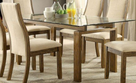 Onway Oak Rectangular Glass Top Dining Table - 1StopBedroom