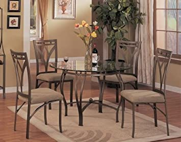 Amazon.com - 5 pc metal and glass dining room table set in a .