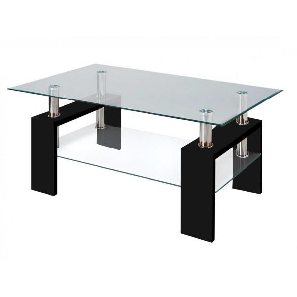 Fab Glass and Mirror Modern Glass Black Coffee Table With Shelf .