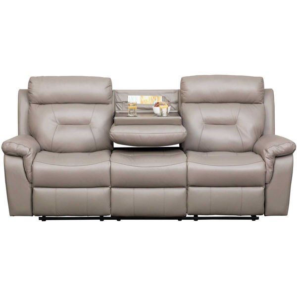 Watson Light Gray Leather Reclining Sofa with DDT 7123C-53/1032 .