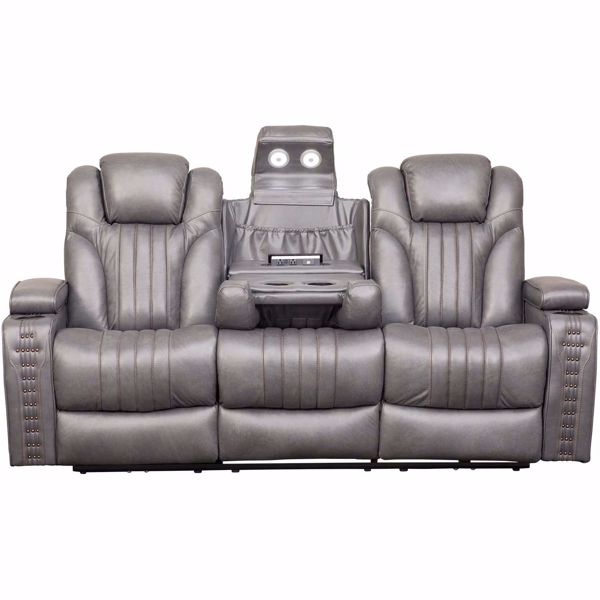 Outsider Gunmetal Gray Leather Power Reclining Sofa with Drop .