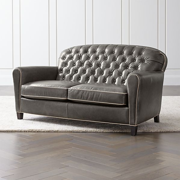 Eiffel Tufted Leather Loveseat + Reviews | Crate and Barr