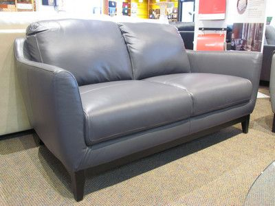 Dark grey leather loveseat by Kuka. | Contemporary home office .