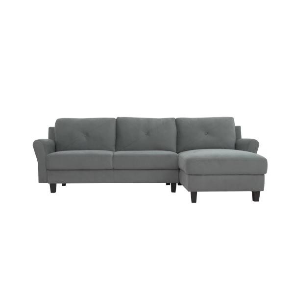 Lifestyle Solutions Harvard Dark Grey Sectional Sofa with Rolled .