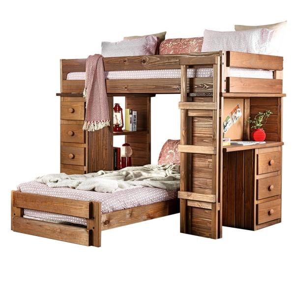 William's Home Furnishing Beckford in Mahogany Twin Loft Bed AM .