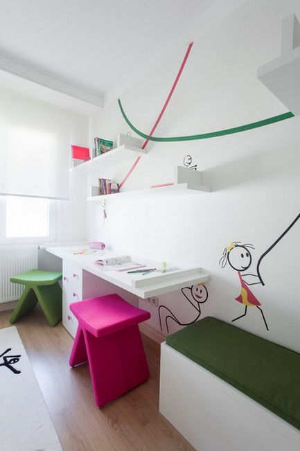 Study Table Furniture for two kids in modern room   Kids room .
