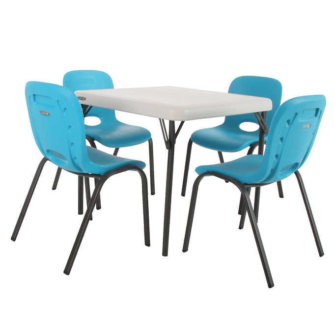 Lifetime Kids Table with 4 Blue Chai