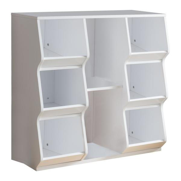 Signature Home 33.5 in. W x 33 in. H White Wood Kids Toy Storage 8 .