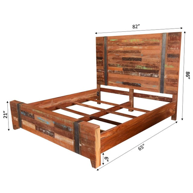 Valery Rustic Wooden King Size Bed | Chairi