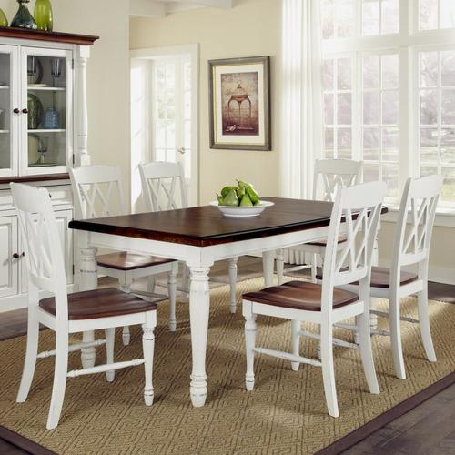 Home Styles Monarch White/Oak Dining Set with Table at Lowes.c