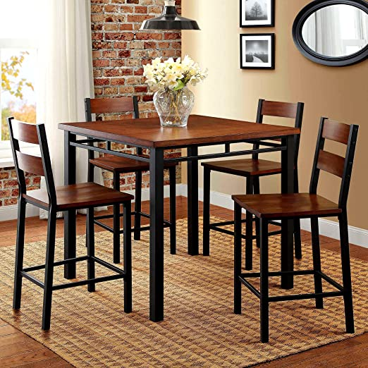 Amazon.com - 5pc Dining Set 4 Seats Chairs & Square Table Indoor .