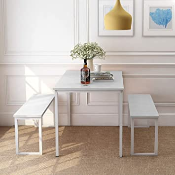 Amazon.com - Rhomtree 3 Pieces Dining Set Table with 2 Benches .