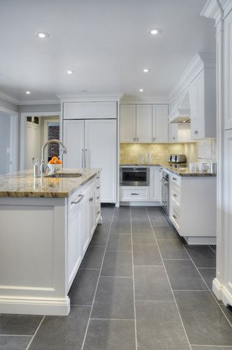 Love the flooring and cabinets but maybe a darker countertop .