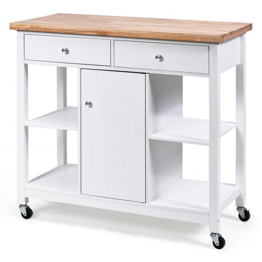 Utility Wood Movable Kitchen Cart with Storage Shelves and Drawers .