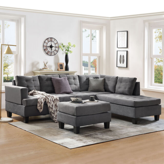 3-Piece Sectional Sofa w/Chaise Lounge and Storage Ottoman L .