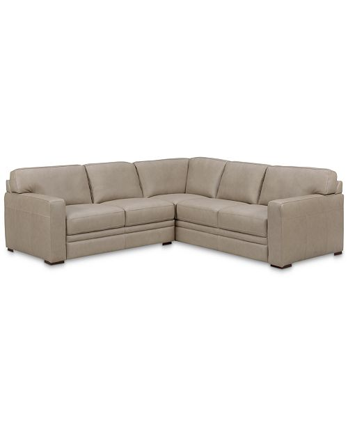 """Furniture Avenell 2-Pc. Leather """"L""""-Shaped Sectional Sofa, Created ."""