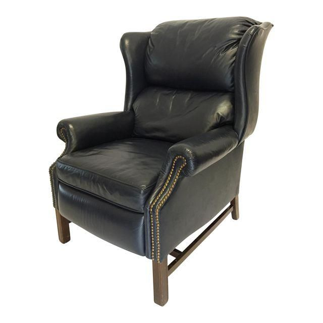 Lane Navy Leather Mid-Century Wingback Recliner in 2020 | Recliner .