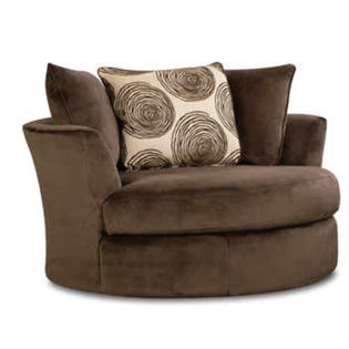 Universal Industries Groovy chocolate champion fabric upholstered .