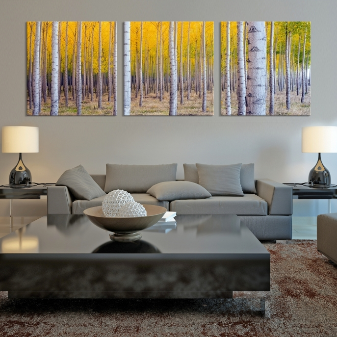 Extra Large Wall Art Landscape Canvas Print - Trees and Yellow .