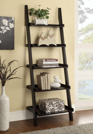 800338 Espresso finish wood 5 tier leaning bookshelf with back and .