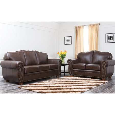 Abbyson Pearla Leather Sofa and Loveseat Set in Dark Brown .