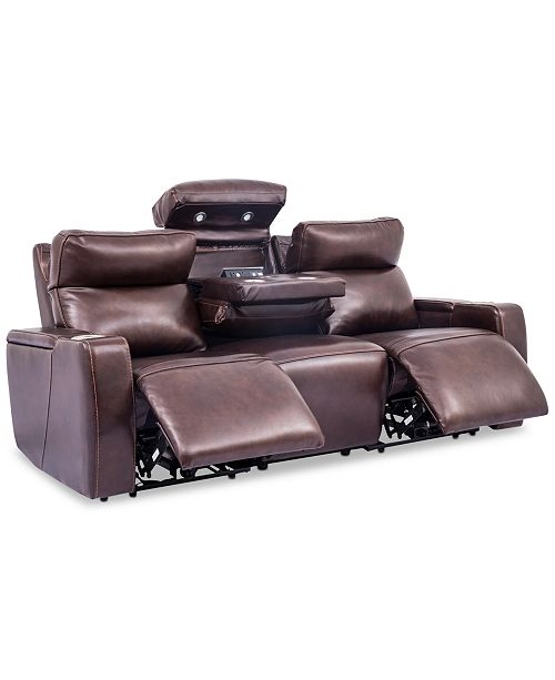 """Furniture Oaklyn 85"""" 3-Piece Leather Sectional Sofa with 2 Power ."""