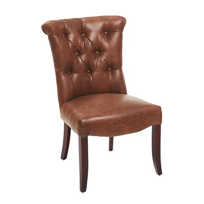 Colette Brown Faux Leather Dining Chair with Espresso Legs | Pier