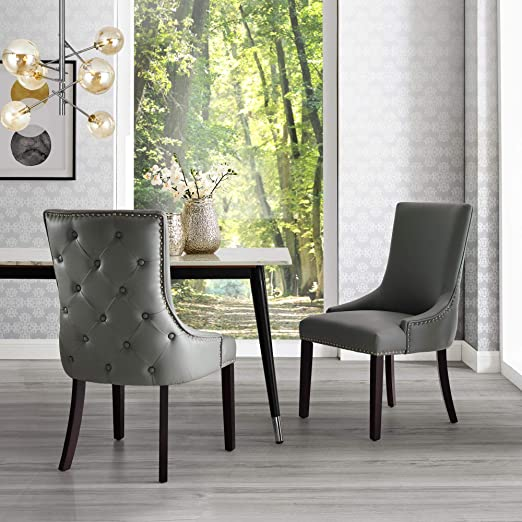 Amazon.com - InspiredHome Light Grey Leather Dining Chair - Design .