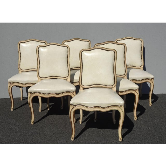 Six Vintage French Provincial Off White Leather Dining Room Chairs .