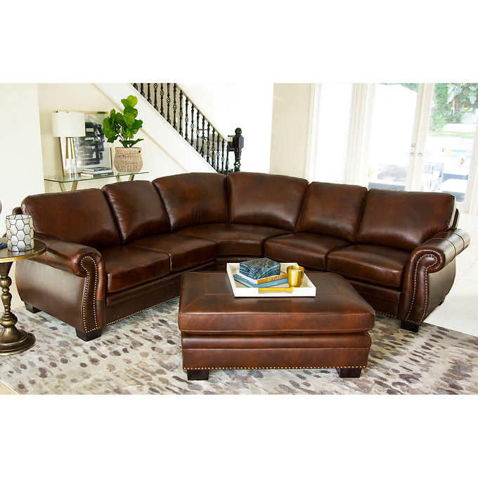 Isabelle Top Grain Leather Sectional and Ottom
