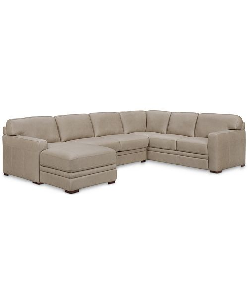 """Furniture Avenell 137"""" 3-Pc. Leather Sectional with Chaise ."""