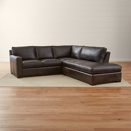 Axis II Dark Brown Leather Sectional Couch + Reviews   Crate and .