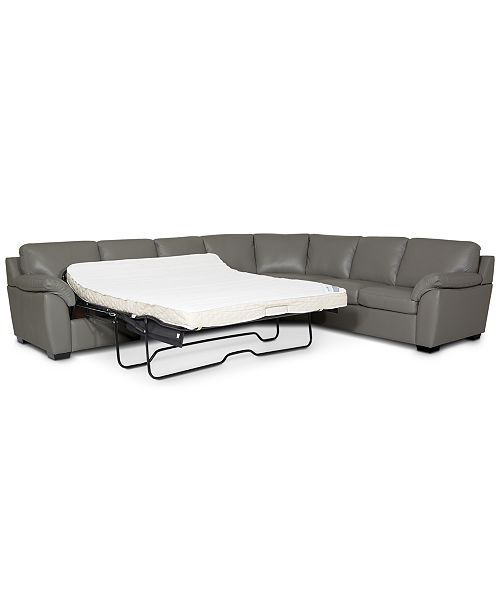Furniture Lothan 3-Pc. Leather Queen Sleeper Sectional Sofa .