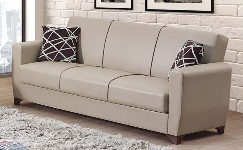 Yonkers Cream Leather Sofa Bed by Empire Furniture U